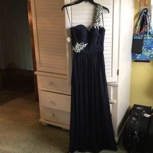 Navy blue one shoulder prom dress